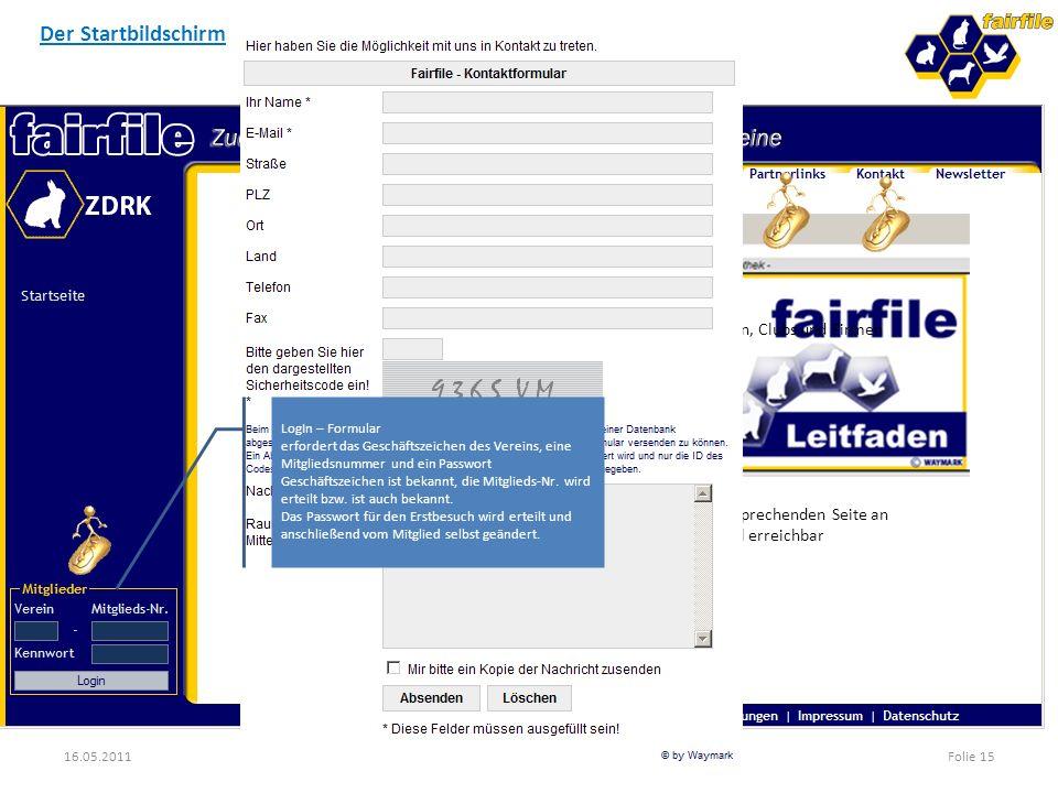 16.05.2011WAYMARK - Marketing und Neue MedienFolie 15 Der Startbildschirm Die Hilfe zu Fairfile Hilfe passt sich der entsprechenden Seite an Hilfe auc