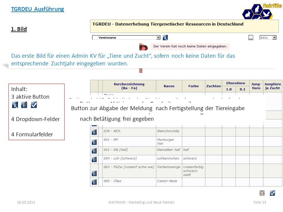 TGRDEU Ausführung 16.05.2011WAYMARK - Marketing und Neue MedienFolie 23 1. Bild Das erste Bild für einen Admin KV für Tiere und Zucht, sofern noch kei