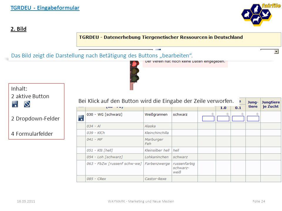 TGRDEU - Eingabeformular 16.05.2011WAYMARK - Marketing und Neue MedienFolie 24 2. Bild Das Bild zeigt die Darstellung nach Betätigung des Buttons bear