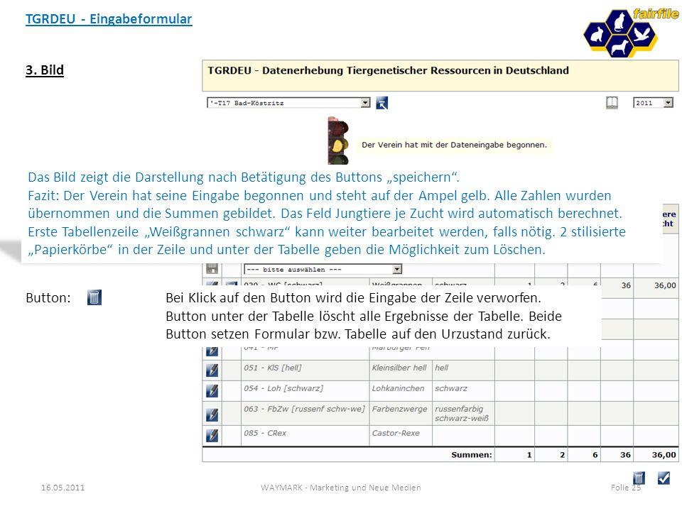 TGRDEU - Eingabeformular 16.05.2011WAYMARK - Marketing und Neue MedienFolie 25 3. Bild Das Bild zeigt die Darstellung nach Betätigung des Buttons spei