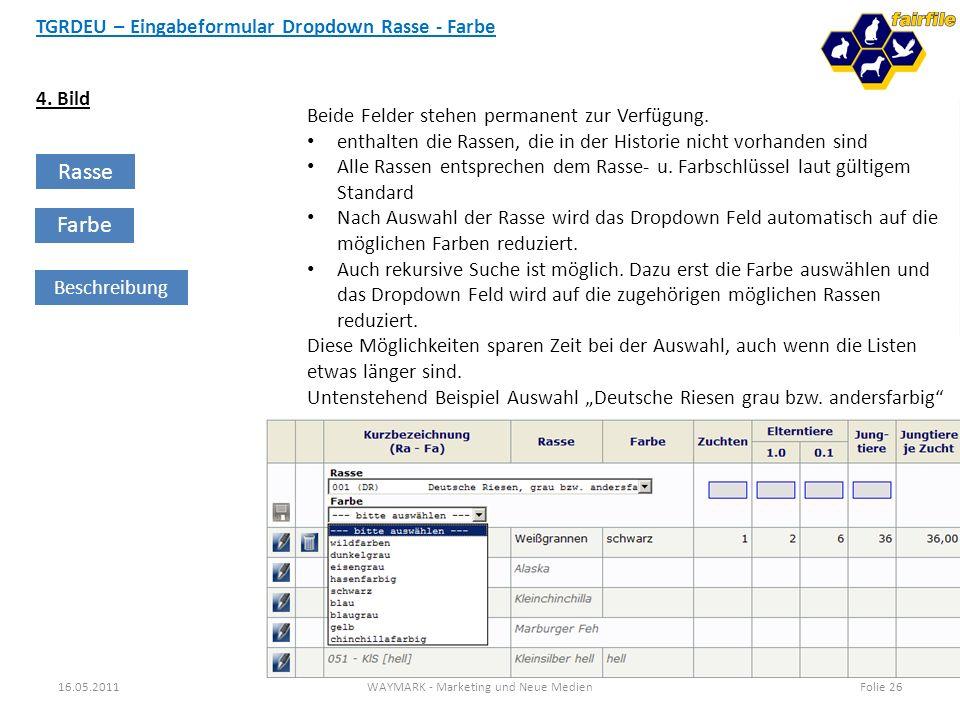TGRDEU – Eingabeformular Dropdown Rasse - Farbe 16.05.2011WAYMARK - Marketing und Neue MedienFolie 26 4. Bild Rasse Farbe Beschreibung Beide Felder st