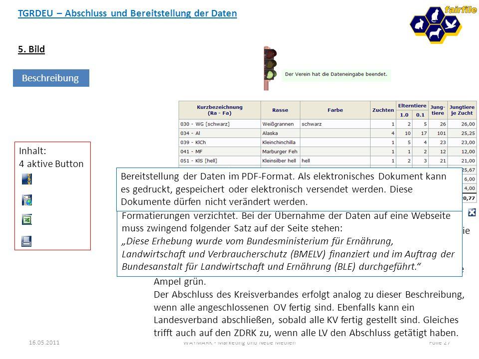 TGRDEU – Abschluss und Bereitstellung der Daten 16.05.2011WAYMARK - Marketing und Neue MedienFolie 27 5. Bild Beschreibung Nach Abgabe der Meldung und