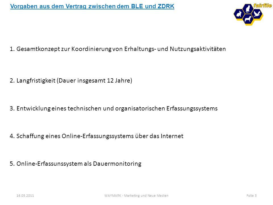 16.05.2011WAYMARK - Marketing und Neue MedienFolie 3 1. Gesamtkonzept zur Koordinierung von Erhaltungs- und Nutzungsaktivitäten 2. Langfristigkeit (Da