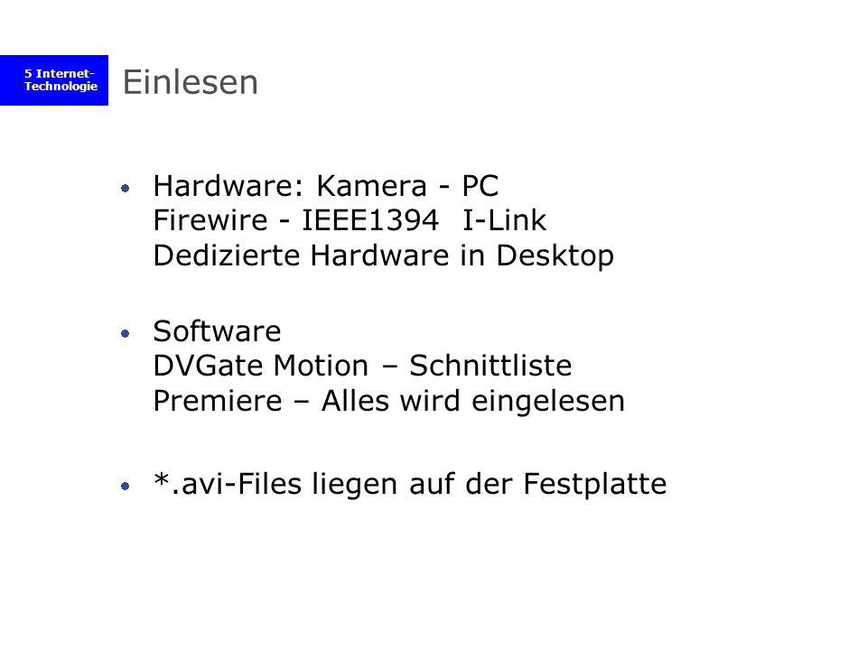 5 Internet- Technologie Einlesen Hardware: Kamera - PC Firewire - IEEE1394 I-Link Dedizierte Hardware in Desktop Software DVGate Motion – Schnittliste Premiere – Alles wird eingelesen *.avi-Files liegen auf der Festplatte
