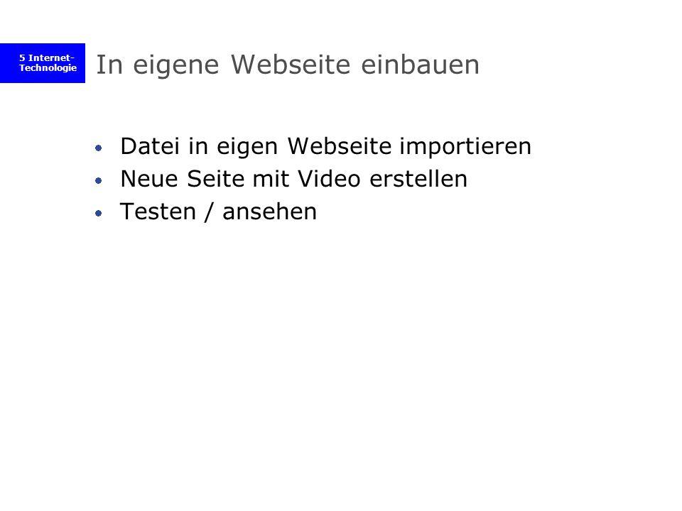 5 Internet- Technologie In eigene Webseite einbauen Datei in eigen Webseite importieren Neue Seite mit Video erstellen Testen / ansehen