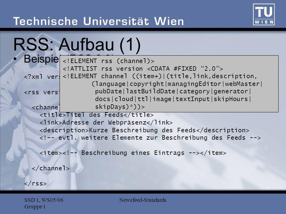 SSD 1, WS05/06 Gruppe 1 Newsfeed-Standards Beispiel (RSS 2.0): Tilel des Artikels Zusammenfassung des Artikels URL des Artikels Autor des Artikels Tilel des Artikels <![CDATA[ HTML Datei...