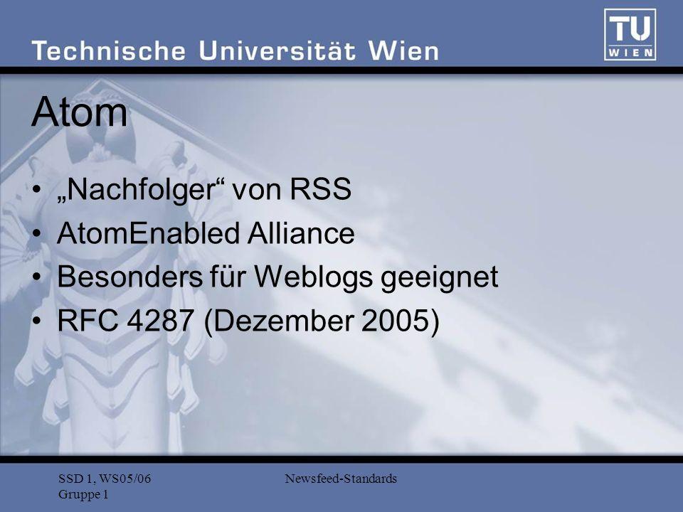 SSD 1, WS05/06 Gruppe 1 Newsfeed-Standards Atom: Aufbau (1) Beispiel: Name des Weblogs 2003-12-13T18:30:02Z Autor des Weblogs urn:uuid:60a76c80-d399-11d9-b93C-0003939e0af6 Ein Eintrag des Weblogs atomFeed = element atom:feed { atomCommonAttributes, (atomAuthor+ & atomCategory* & atomContributor* & atomGenerator.