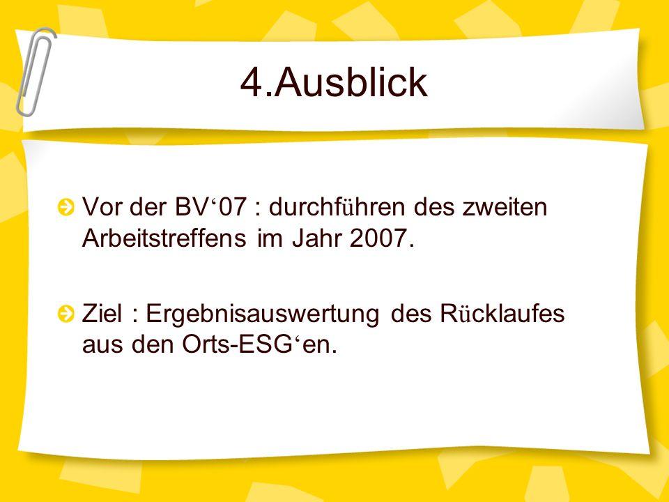 4.Ausblick Vor der BV 07 : durchf ü hren des zweiten Arbeitstreffens im Jahr 2007. Ziel : Ergebnisauswertung des R ü cklaufes aus den Orts-ESG en.