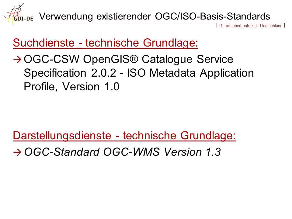Geodateninfrastruktur Deutschland Suchdienste - technische Grundlage: OGC-CSW OpenGIS® Catalogue Service Specification 2.0.2 - ISO Metadata Application Profile, Version 1.0 Darstellungsdienste - technische Grundlage: OGC-Standard OGC-WMS Version 1.3 Verwendung existierender OGC/ISO-Basis-Standards