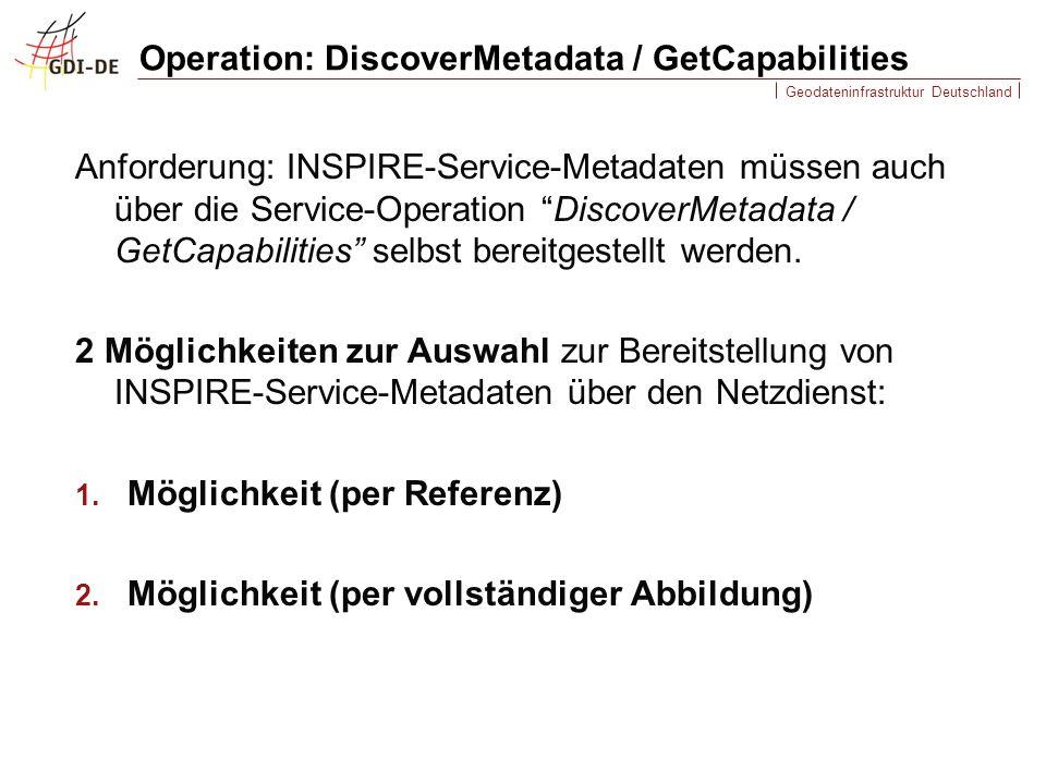 Geodateninfrastruktur Deutschland Operation: DiscoverMetadata / GetCapabilities Anforderung: INSPIRE-Service-Metadaten müssen auch über die Service-Operation DiscoverMetadata / GetCapabilities selbst bereitgestellt werden.