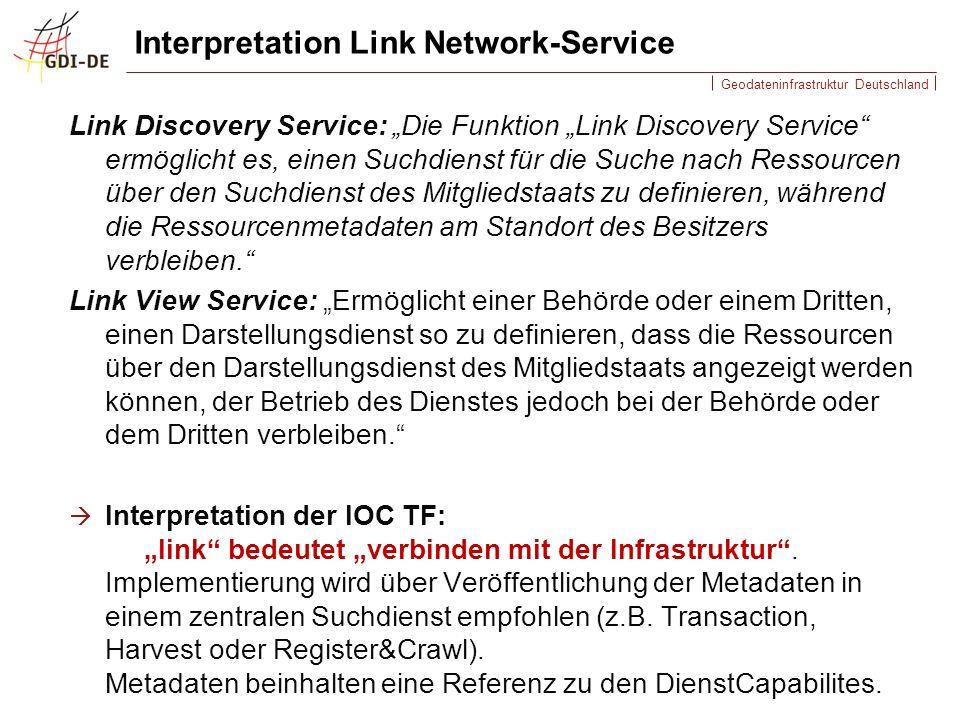 Geodateninfrastruktur Deutschland Interpretation Link Network-Service Link Discovery Service: Die Funktion Link Discovery Service ermöglicht es, einen Suchdienst für die Suche nach Ressourcen über den Suchdienst des Mitgliedstaats zu definieren, während die Ressourcenmetadaten am Standort des Besitzers verbleiben.