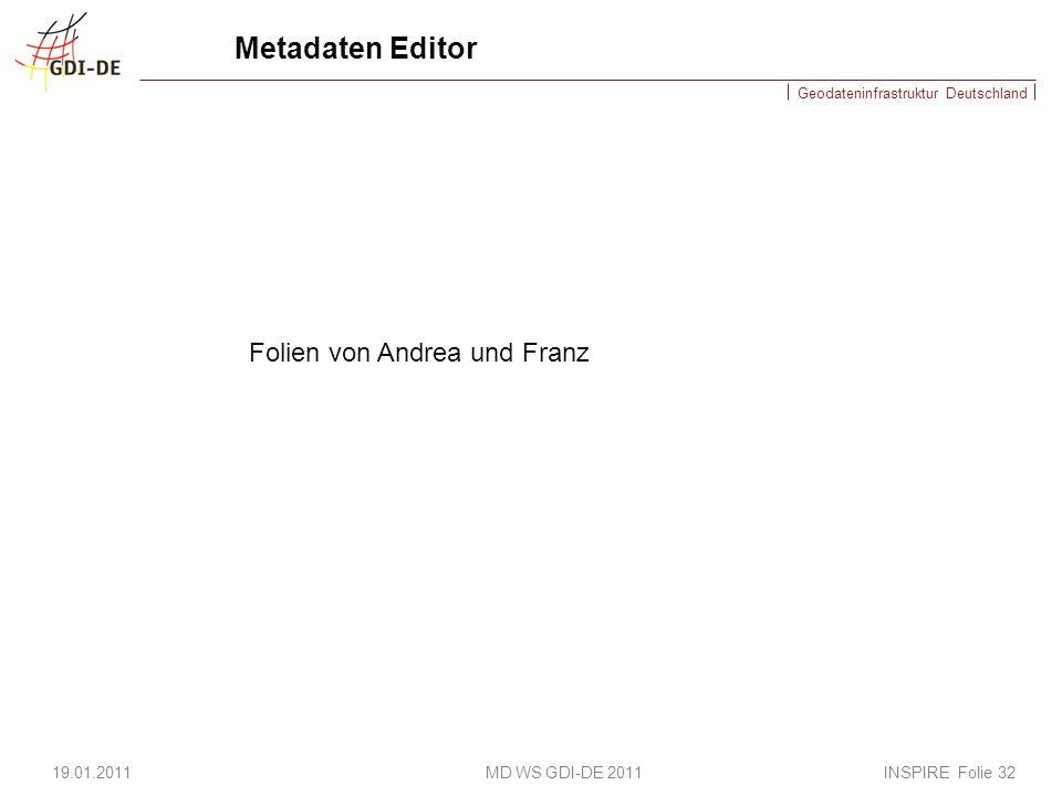 Geodateninfrastruktur Deutschland Metadaten Editor 19.01.2011 MD WS GDI-DE 2011 INSPIRE Folie 32 Folien von Andrea und Franz