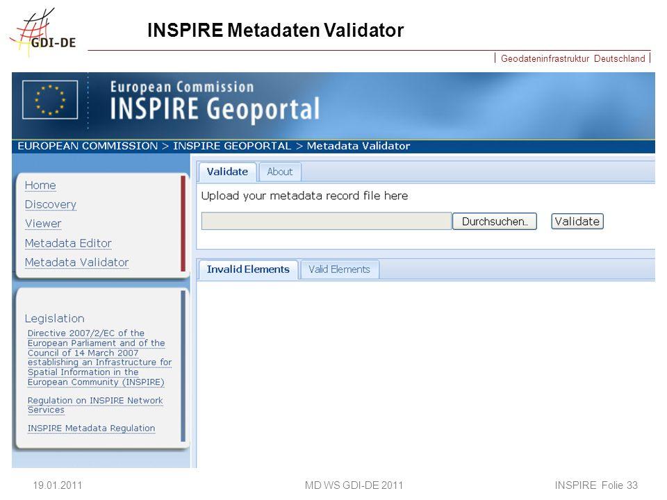 Geodateninfrastruktur Deutschland INSPIRE Metadaten Validator 19.01.2011 MD WS GDI-DE 2011 INSPIRE Folie 33