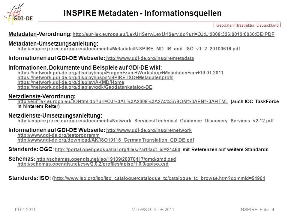 Geodateninfrastruktur Deutschland INSPIRE Metadaten - Informationsquellen Metadaten-Verordnung: http://eur-lex.europa.eu/LexUriServ/LexUriServ.do?uri=OJ:L:2008:326:0012:0030:DE:PDF http://eur-lex.europa.eu/LexUriServ/LexUriServ.do?uri=OJ:L:2008:326:0012:0030:DE:PDF Metadaten-Umsetzungsanleitung: http://inspire.jrc.ec.europa.eu/documents/Metadata/INSPIRE_MD_IR_and_ISO_v1_2_20100616.pdf http://inspire.jrc.ec.europa.eu/documents/Metadata/INSPIRE_MD_IR_and_ISO_v1_2_20100616.pdf Informationen auf GDI-DE Webseite: http://www.gdi-de.org/inspire/metadata http://www.gdi-de.org/inspire/metadata Informationen, Dokumente und Beispiele auf GDI-DE wiki: https://network.gdi-de.org/display/insp/Fragen+zum+Workshop+Metadaten+am+19.01.2011 https://network.gdi-de.org/display/insp/INSPIRE-ISO+Metadatenprofil https://network.gdi-de.org/display/insp/Fragen+zum+Workshop+Metadaten+am+19.01.2011 https://network.gdi-de.org/display/insp/INSPIRE-ISO+Metadatenprofil https://network.gdi-de.org/display/AKMD/Home https://network.gdi-de.org/display/gdk/Geodatenkatalog-DE Netzdienste-Verordnung: http://eur-lex.europa.eu/JOHtml.do?uri=OJ%3AL%3A2009%3A274%3ASOM%3AEN%3AHTML (auch IOC TaskForce in hinterem Reiter) http://eur-lex.europa.eu/JOHtml.do?uri=OJ%3AL%3A2009%3A274%3ASOM%3AEN%3AHTML Netzdienste-Umsetzungsanleitung: http://inspire.jrc.ec.europa.eu/documents/Network_Services/Technical_Guidance_Discovery_Services_v2.12.pdf http://inspire.jrc.ec.europa.eu/documents/Network_Services/Technical_Guidance_Discovery_Services_v2.12.pdf Informationen auf GDI-DE Webseite: http://www.gdi-de.org/inspire/network http://www.gdi-de.org/testprogramm http://www.gdi-de.org/download/AK/ISO19115_GermanTranslation_GDIDE.pdf http://www.gdi-de.org/inspire/network http://www.gdi-de.org/testprogramm http://www.gdi-de.org/download/AK/ISO19115_GermanTranslation_GDIDE.pdf Standards: OGC : http://portal.opengeospatial.org/files/?artifact_id=21460 mit Referenzen auf weitere Standardshttp://portal.opengeospatial.org/files/?artifa