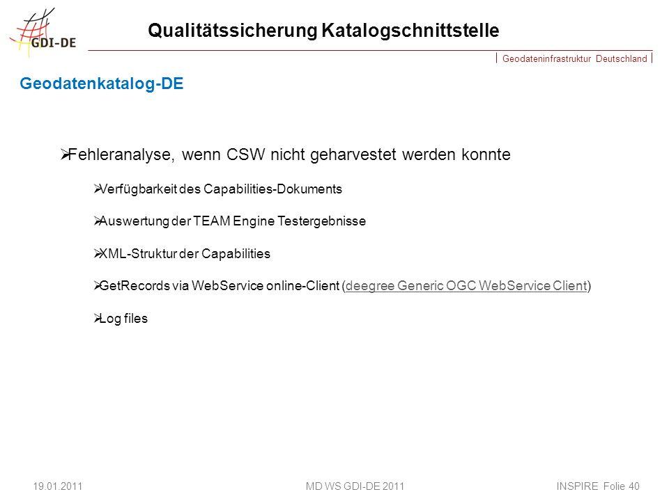 Geodateninfrastruktur Deutschland Qualitätssicherung Katalogschnittstelle Geodatenkatalog-DE 19.01.2011 MD WS GDI-DE 2011 INSPIRE Folie 40 Fehleranalyse, wenn CSW nicht geharvestet werden konnte Verfügbarkeit des Capabilities-Dokuments Auswertung der TEAM Engine Testergebnisse XML-Struktur der Capabilities GetRecords via WebService online-Client (deegree Generic OGC WebService Client)deegree Generic OGC WebService Client Log files