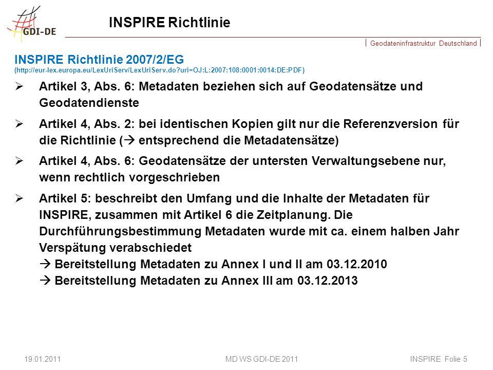 Geodateninfrastruktur Deutschland Zeitplan WasWann Metadaten erfasst für INSPIRE Anhang I und II Veröffentlichung TG Such- & Darstellungsdienste Anfangsbetriebsfähigkeit für Such und Darstellungsdienste die sich auf Datensätze zu Anhang I und II beziehen.