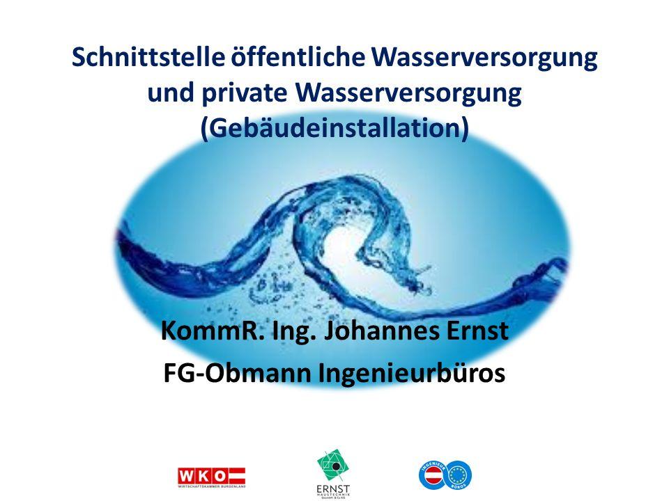 KommR. Ing. Johannes Ernst FG-Obmann Ingenieurbüros Schnittstelle öffentliche Wasserversorgung und private Wasserversorgung (Gebäudeinstallation)
