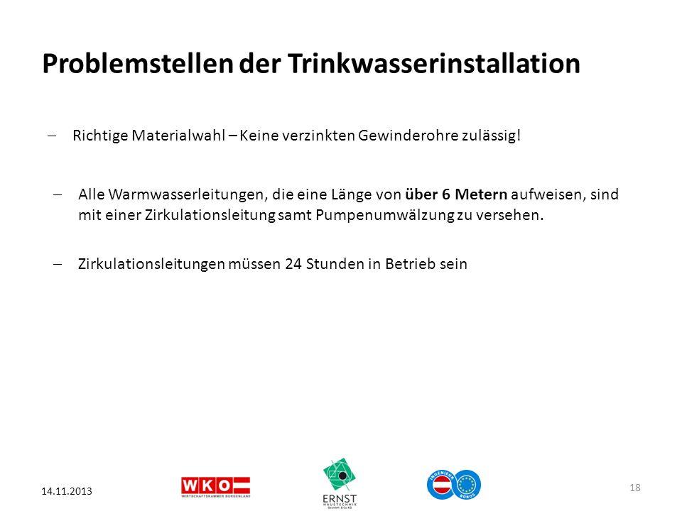 Problemstellen der Trinkwasserinstallation 14.11.2013 18 Richtige Materialwahl – Keine verzinkten Gewinderohre zulässig! Alle Warmwasserleitungen, die