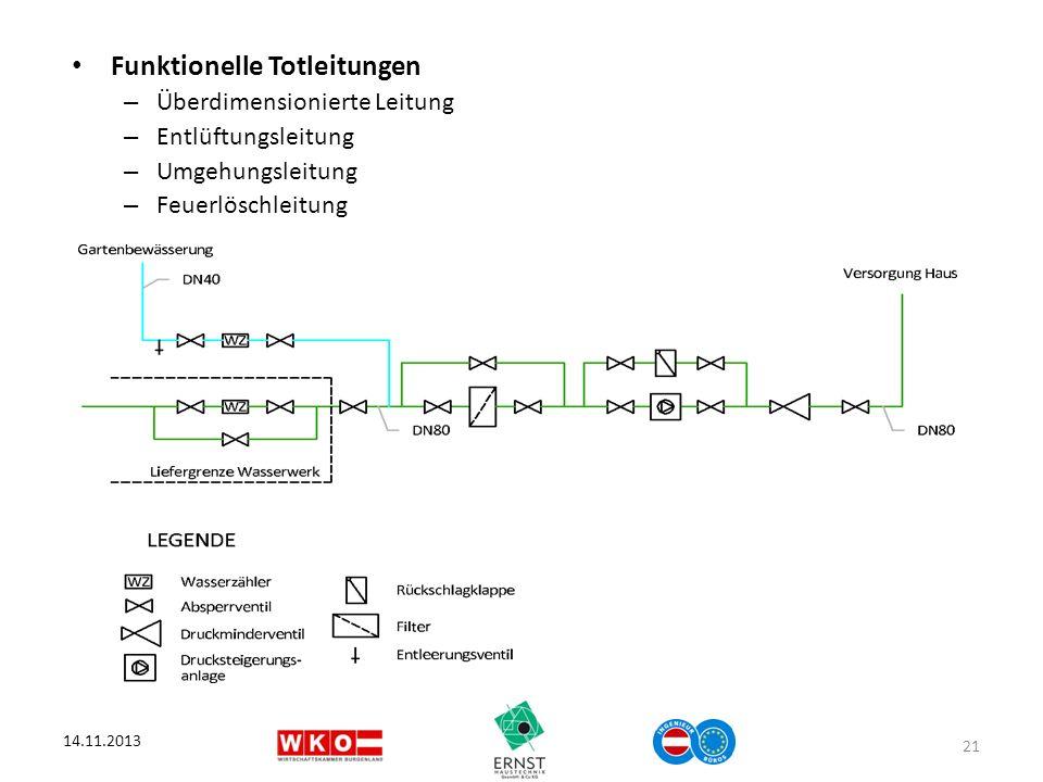 Funktionelle Totleitungen – Überdimensionierte Leitung – Entlüftungsleitung – Umgehungsleitung – Feuerlöschleitung 14.11.2013 21