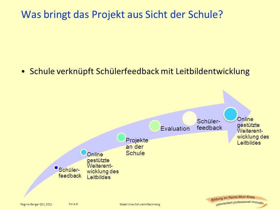 Folie 8 Regine Berger QM, 2011 Was bringt das Projekt aus Sicht der Schule? Schule verknüpft Schülerfeedback mit Leitbildentwicklung Staatliches Schul