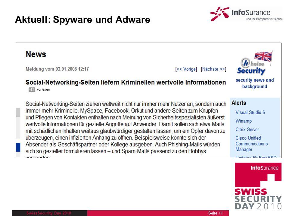 SwissSecurity Day 2010 Aktuell: Spyware und Adware Seite 11