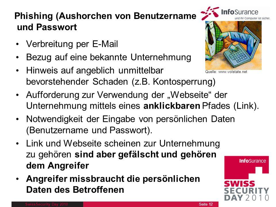 SwissSecurity Day 2010 Phishing (Aushorchen von Benutzername und Passwort Verbreitung per E-Mail Bezug auf eine bekannte Unternehmung Hinweis auf ange