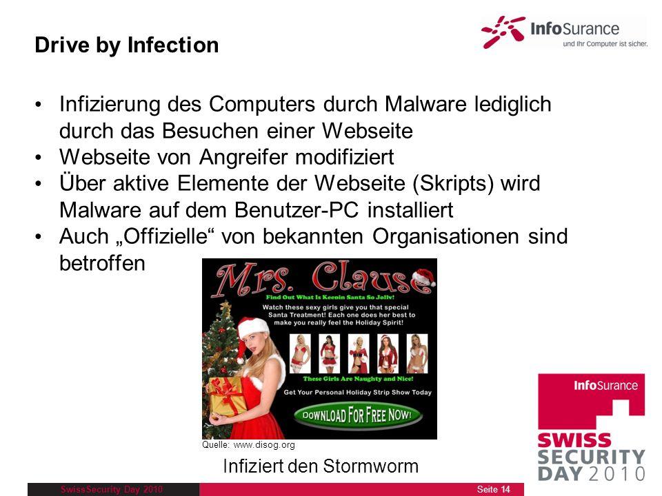 SwissSecurity Day 2010 Infizierung des Computers durch Malware lediglich durch das Besuchen einer Webseite Webseite von Angreifer modifiziert Über akt