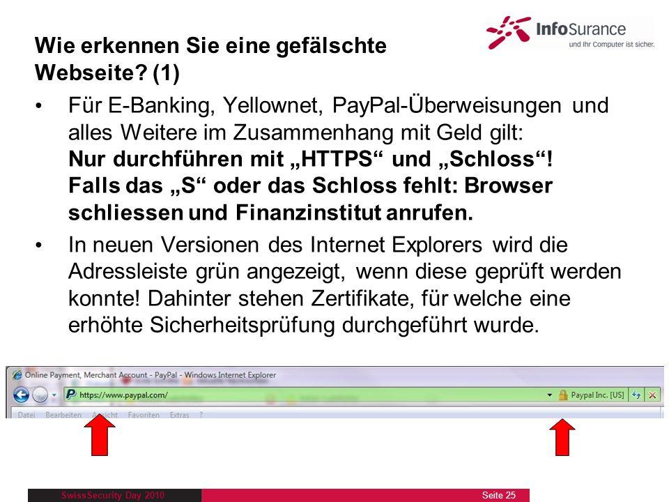 SwissSecurity Day 2010 Für E-Banking, Yellownet, PayPal-Überweisungen und alles Weitere im Zusammenhang mit Geld gilt: Nur durchführen mit HTTPS und S