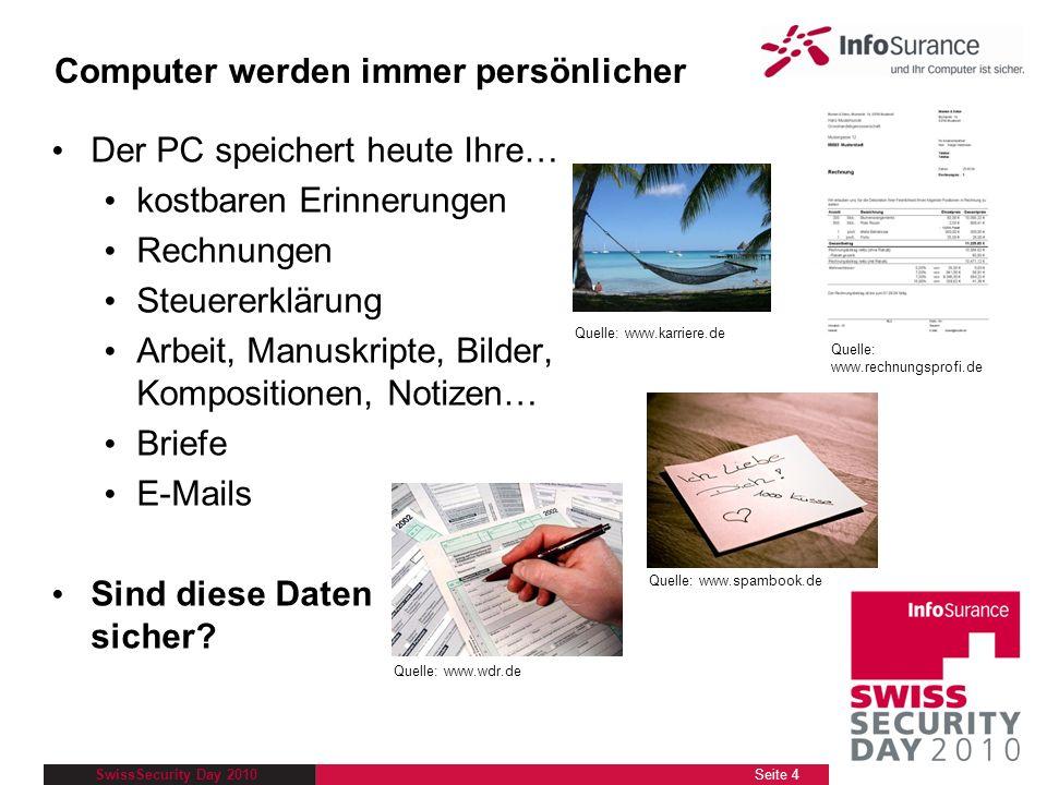 SwissSecurity Day 2010 Der PC speichert heute Ihre… kostbaren Erinnerungen Rechnungen Steuererklärung Arbeit, Manuskripte, Bilder, Kompositionen, Noti