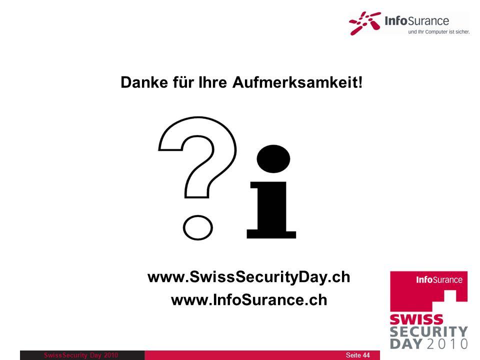 SwissSecurity Day 2010 Danke für Ihre Aufmerksamkeit! www.SwissSecurityDay.ch www.InfoSurance.ch Seite 44