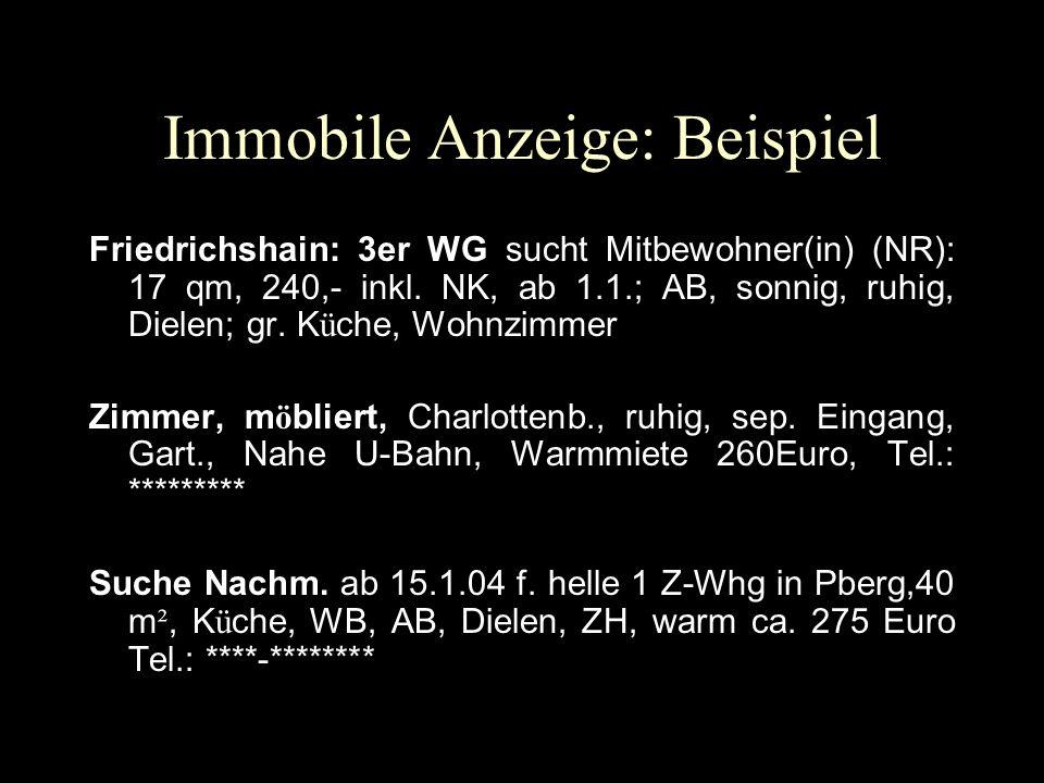 Immobile Anzeige: Beispiel Friedrichshain: 3er WG sucht Mitbewohner(in) (NR): 17 qm, 240,- inkl. NK, ab 1.1.; AB, sonnig, ruhig, Dielen; gr. K ü che,