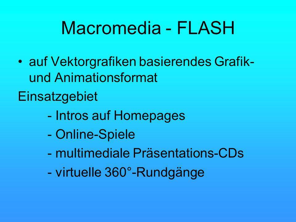 Macromedia - FLASH auf Vektorgrafiken basierendes Grafik- und Animationsformat Einsatzgebiet - Intros auf Homepages - Online-Spiele - multimediale Präsentations-CDs - virtuelle 360°-Rundgänge