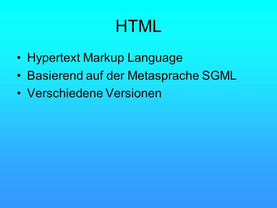 HTML Hypertext Markup Language Basierend auf der Metasprache SGML Verschiedene Versionen