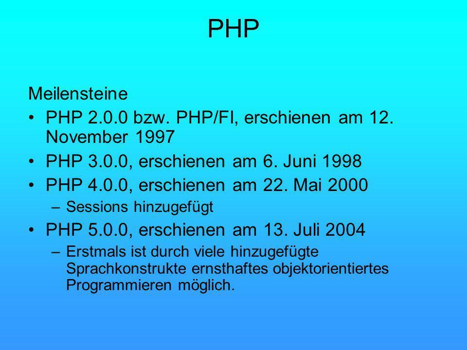 PHP Meilensteine PHP 2.0.0 bzw. PHP/FI, erschienen am 12.