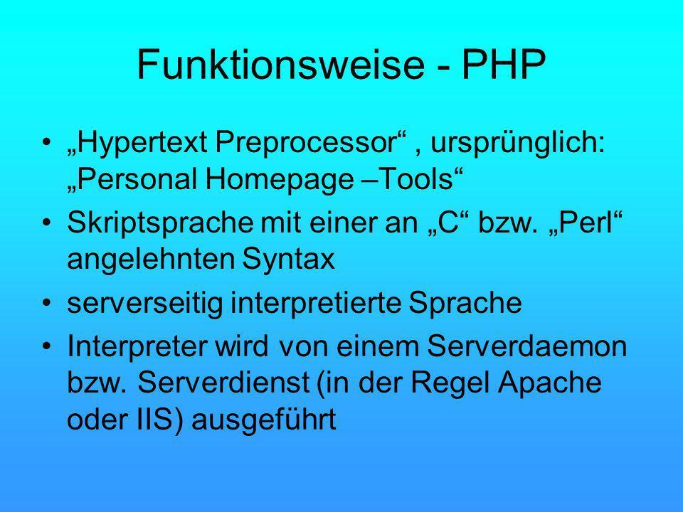 Funktionsweise - PHP Hypertext Preprocessor, ursprünglich: Personal Homepage –Tools Skriptsprache mit einer an C bzw. Perl angelehnten Syntax serverse
