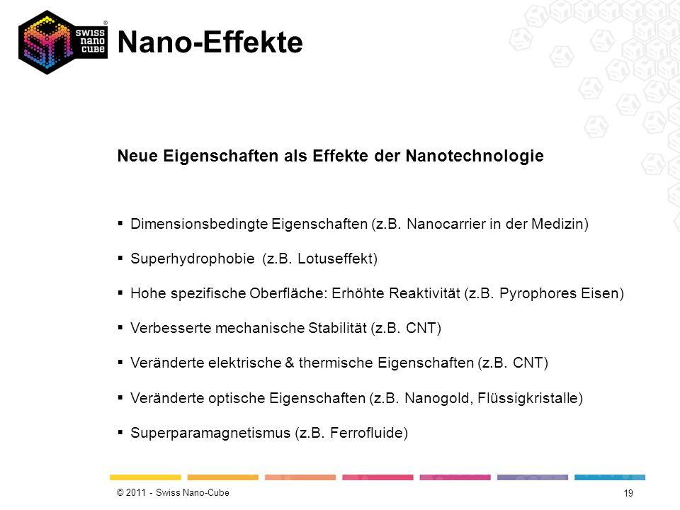 © 2011 - Swiss Nano-Cube Neue Eigenschaften 18 Goldrubinglas im Mittelalter Früher wurde zur Herstellung von Goldrubinglas dem Glasausgangsgemisch fein verteiltes Goldpulver beigefügt.