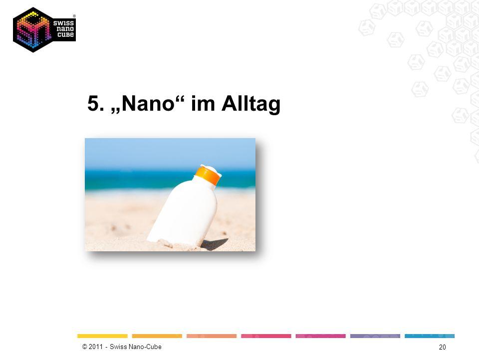 © 2011 - Swiss Nano-Cube Nano-Effekte 19 Neue Eigenschaften als Effekte der Nanotechnologie Dimensionsbedingte Eigenschaften (z.B.