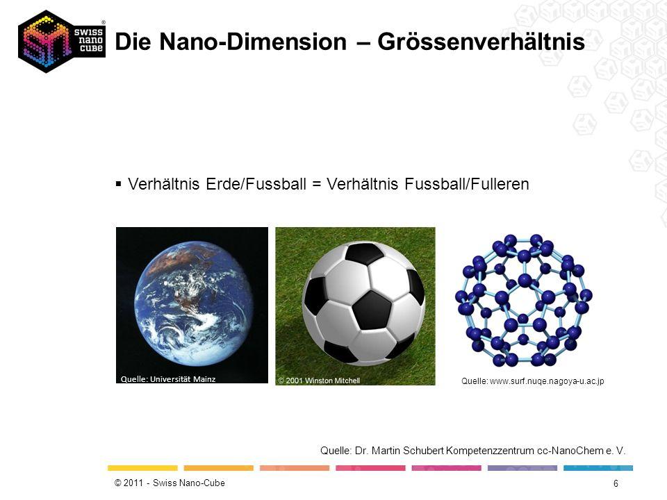 © 2011 - Swiss Nano-Cube 6 Quelle: Universität Mainz Quelle: www.surf.nuqe.nagoya-u.ac.jp Verhältnis Erde/Fussball = Verhältnis Fussball/Fulleren Quelle: Dr.