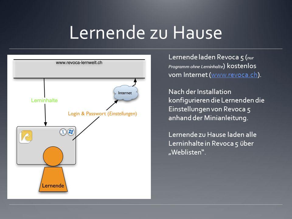 Lernende zu Hause Lernende laden Revoca 5 ( nur Programm ohne Lerninhalte ) kostenlos vom Internet (www.revoca.ch).www.revoca.ch Nach der Installation konfigurieren die Lernenden die Einstellungen von Revoca 5 anhand der Minianleitung.
