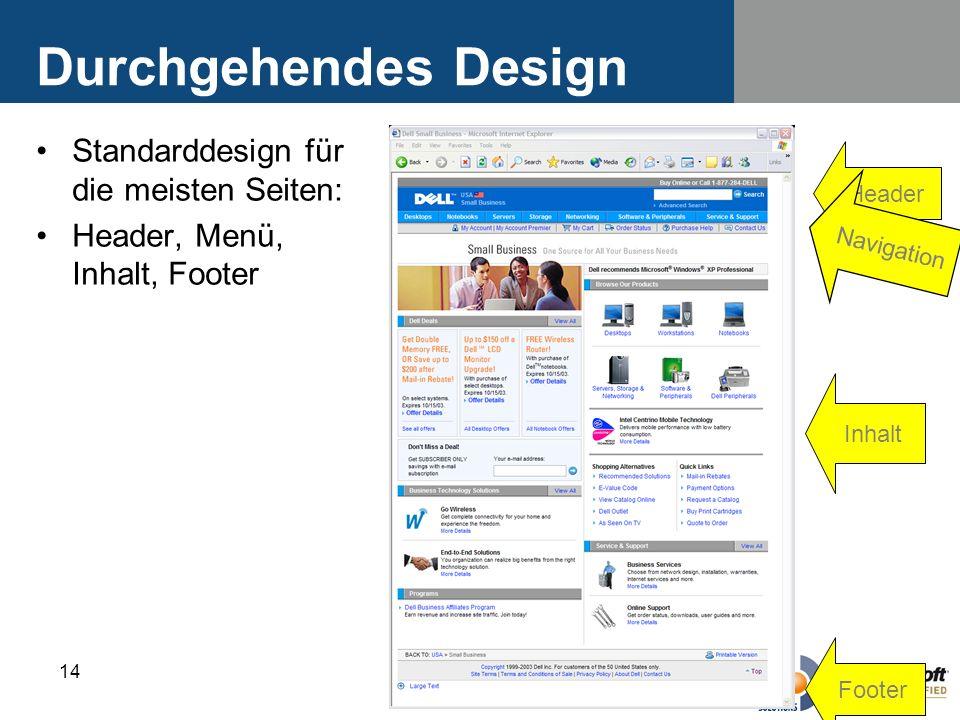 14 Durchgehendes Design Standarddesign für die meisten Seiten: Header, Menü, Inhalt, Footer Header Navigation Inhalt Footer