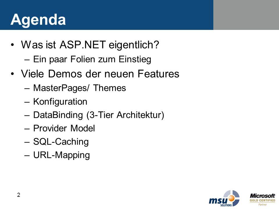 2 Agenda Was ist ASP.NET eigentlich? –Ein paar Folien zum Einstieg Viele Demos der neuen Features –MasterPages/ Themes –Konfiguration –DataBinding (3-