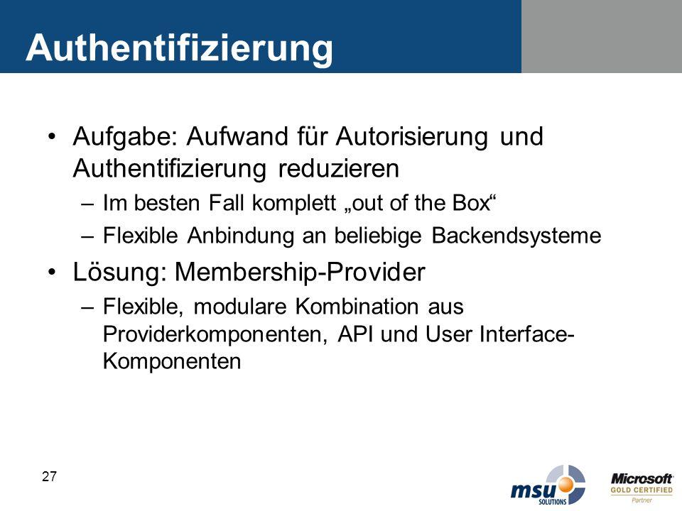27 Authentifizierung Aufgabe: Aufwand für Autorisierung und Authentifizierung reduzieren –Im besten Fall komplett out of the Box –Flexible Anbindung a