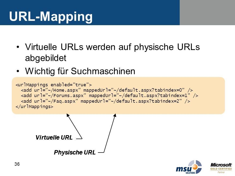 36 URL-Mapping Virtuelle URLs werden auf physische URLs abgebildet Wichtig für Suchmaschinen Virtuelle URL Physische URL