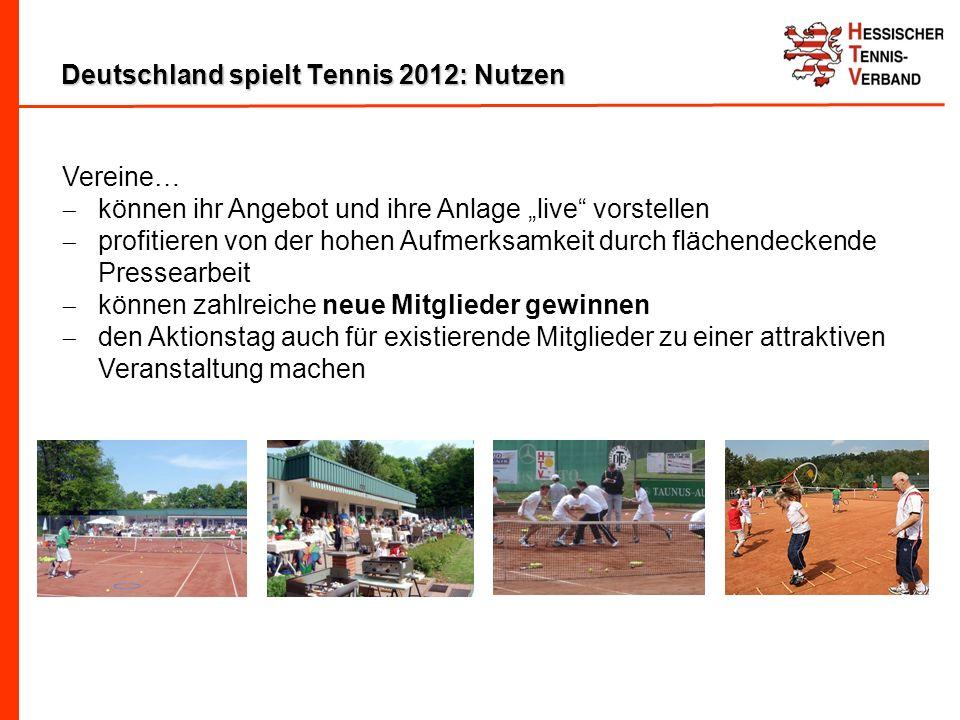 Deutschland spielt Tennis 2012: Nutzen Vereine… können ihr Angebot und ihre Anlage live vorstellen profitieren von der hohen Aufmerksamkeit durch flächendeckende Pressearbeit können zahlreiche neue Mitglieder gewinnen den Aktionstag auch für existierende Mitglieder zu einer attraktiven Veranstaltung machen