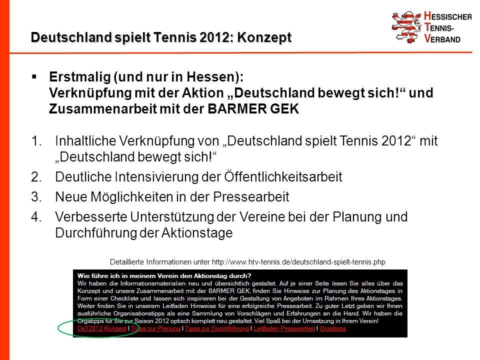 Deutschland spielt Tennis 2012: Konzept Erstmalig (und nur in Hessen): Verknüpfung mit der Aktion Deutschland bewegt sich.