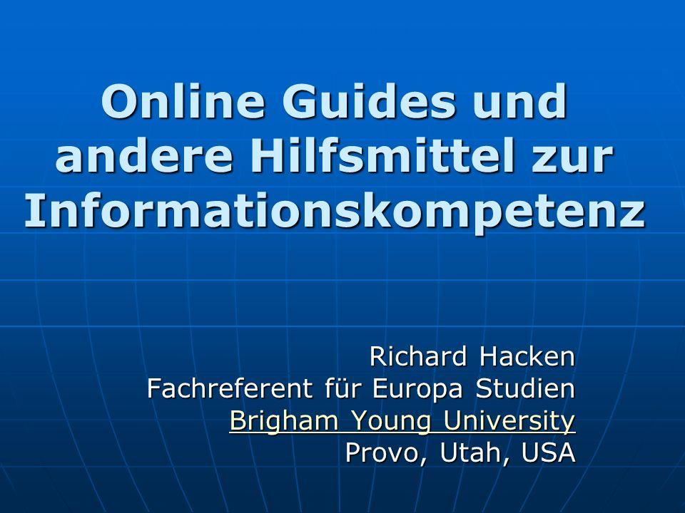 Stufe II Research Guides Forschungseinführungen, wo die genaueren Suchstrategien und Datenbankendetails fehlen.