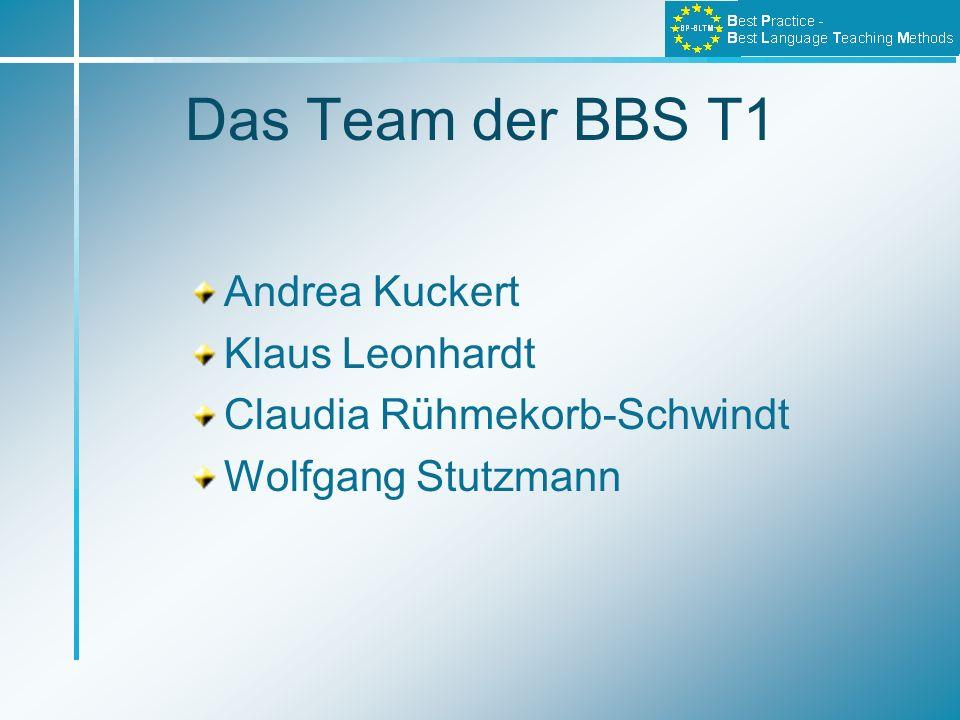 Das Team der BBS T1 Andrea Kuckert Klaus Leonhardt Claudia Rühmekorb-Schwindt Wolfgang Stutzmann