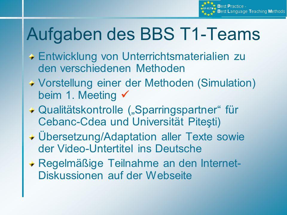 Aufgaben des BBS T1-Teams Entwicklung von Unterrichtsmaterialien zu den verschiedenen Methoden Vorstellung einer der Methoden (Simulation) beim 1. Mee