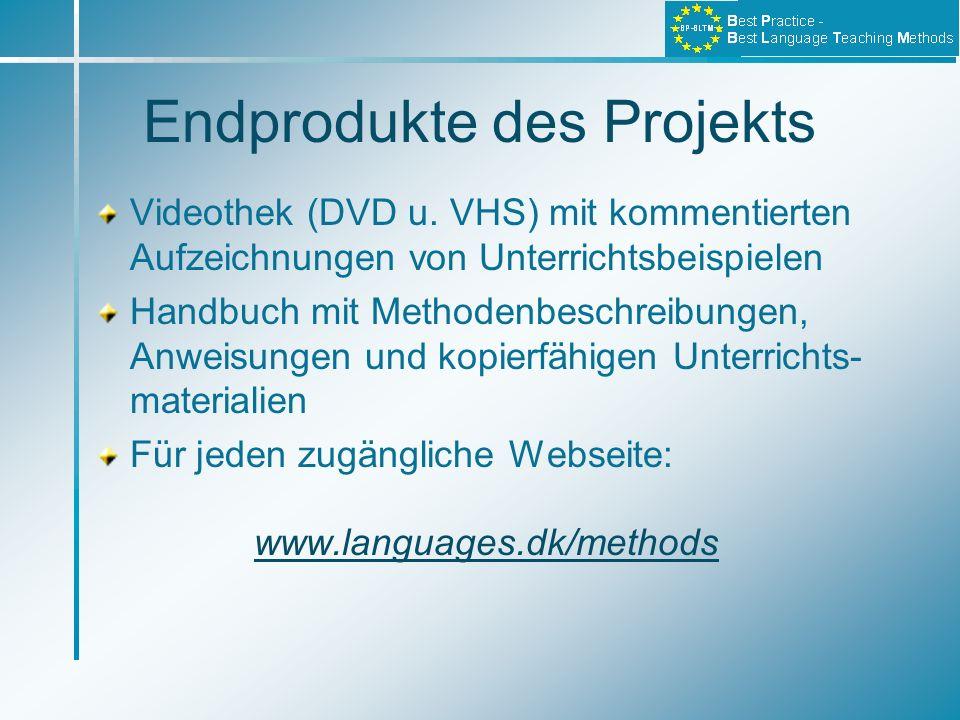 Endprodukte des Projekts Videothek (DVD u. VHS) mit kommentierten Aufzeichnungen von Unterrichtsbeispielen Handbuch mit Methodenbeschreibungen, Anweis