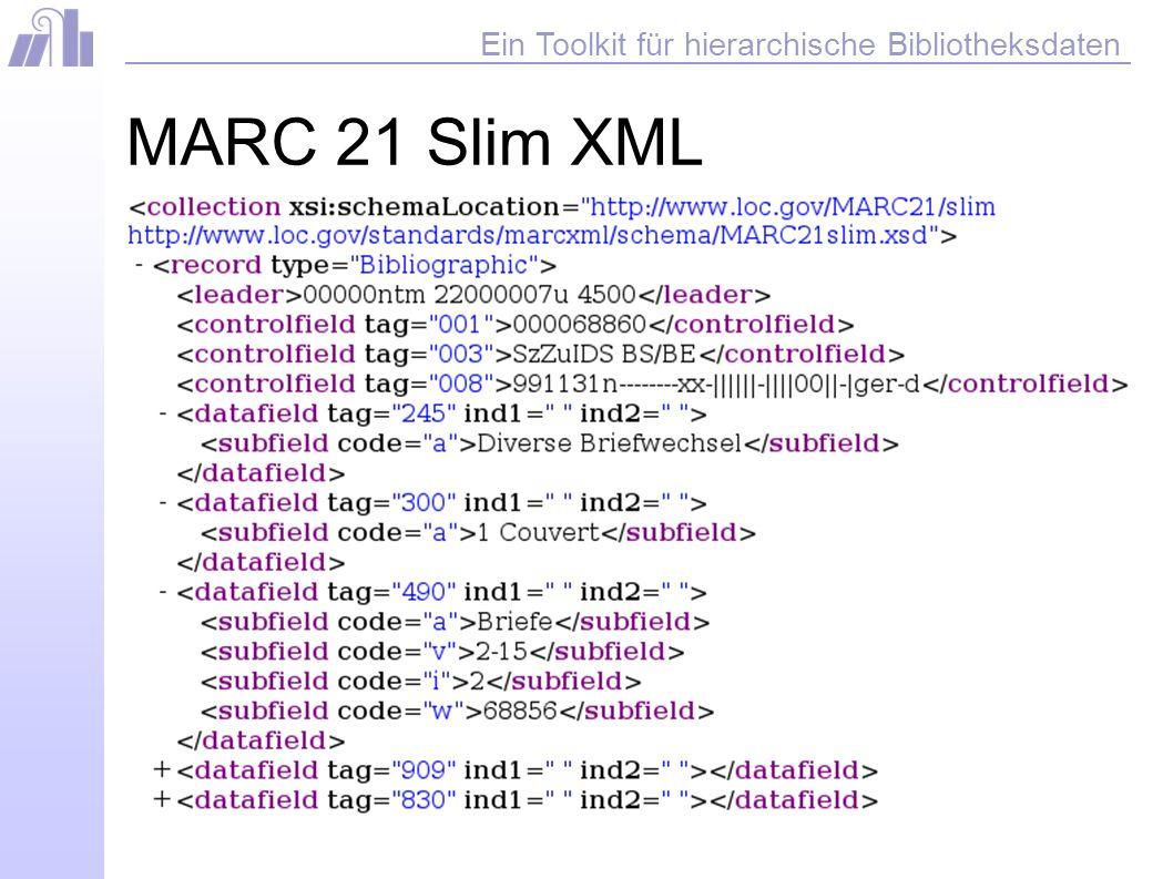 Ein Toolkit für hierarchische Bibliotheksdaten MARC 21 Slim XML